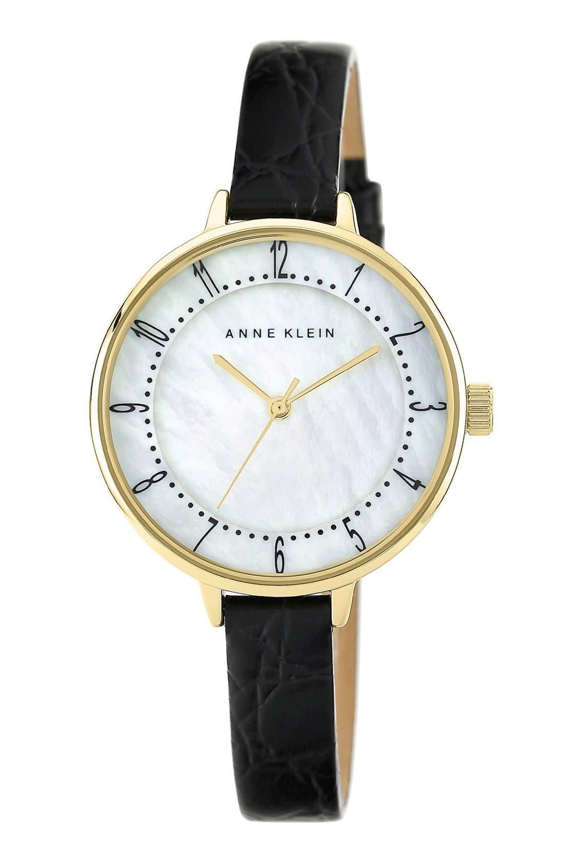 Main Image - Anne Klein Round Embossed Leather Strap Watch, 36mm