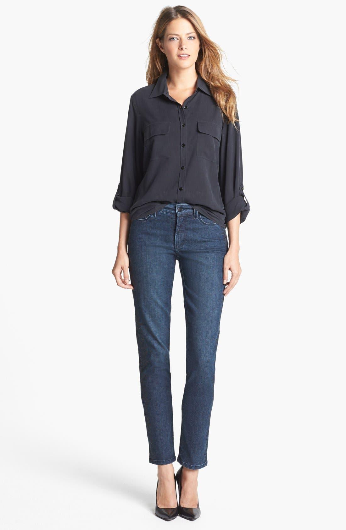 Alternate Image 2  - NYDJ 'Sheri' Lace Detail Stretch Skinny Stretch Jeans (Old River)