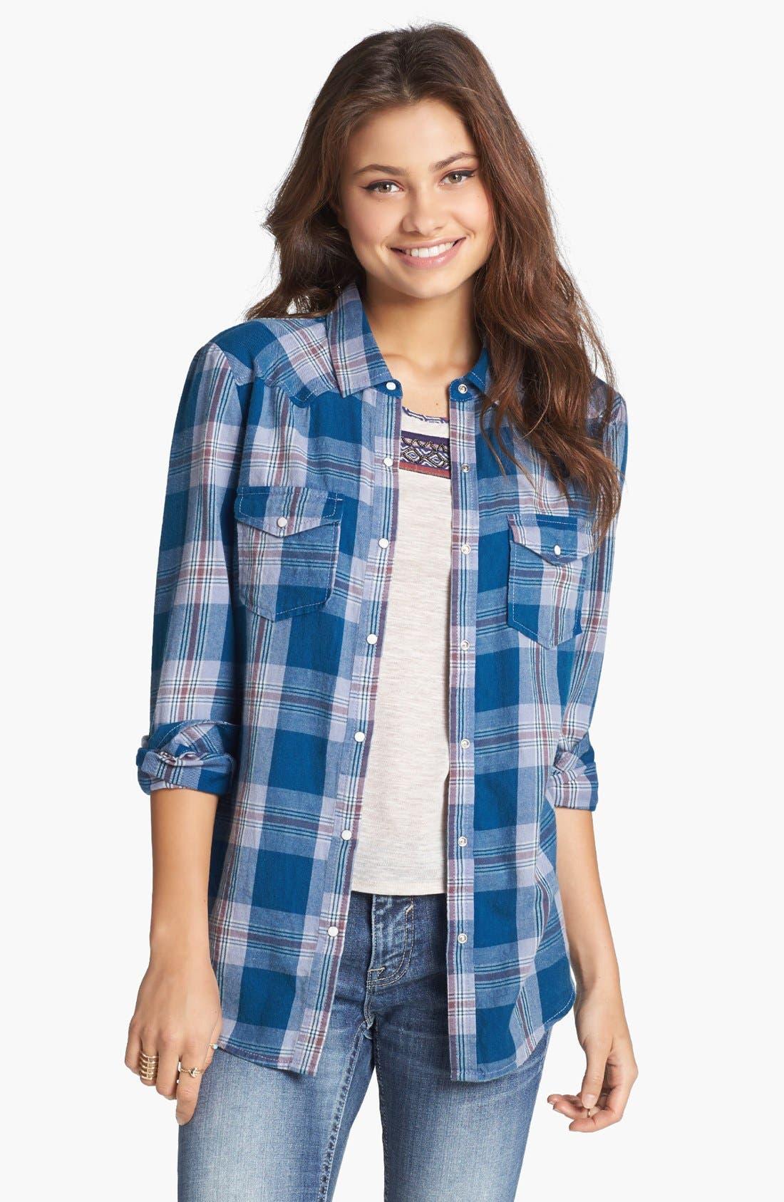 Alternate Image 1 Selected - Rubbish® Plaid Western Shirt (Juniors)