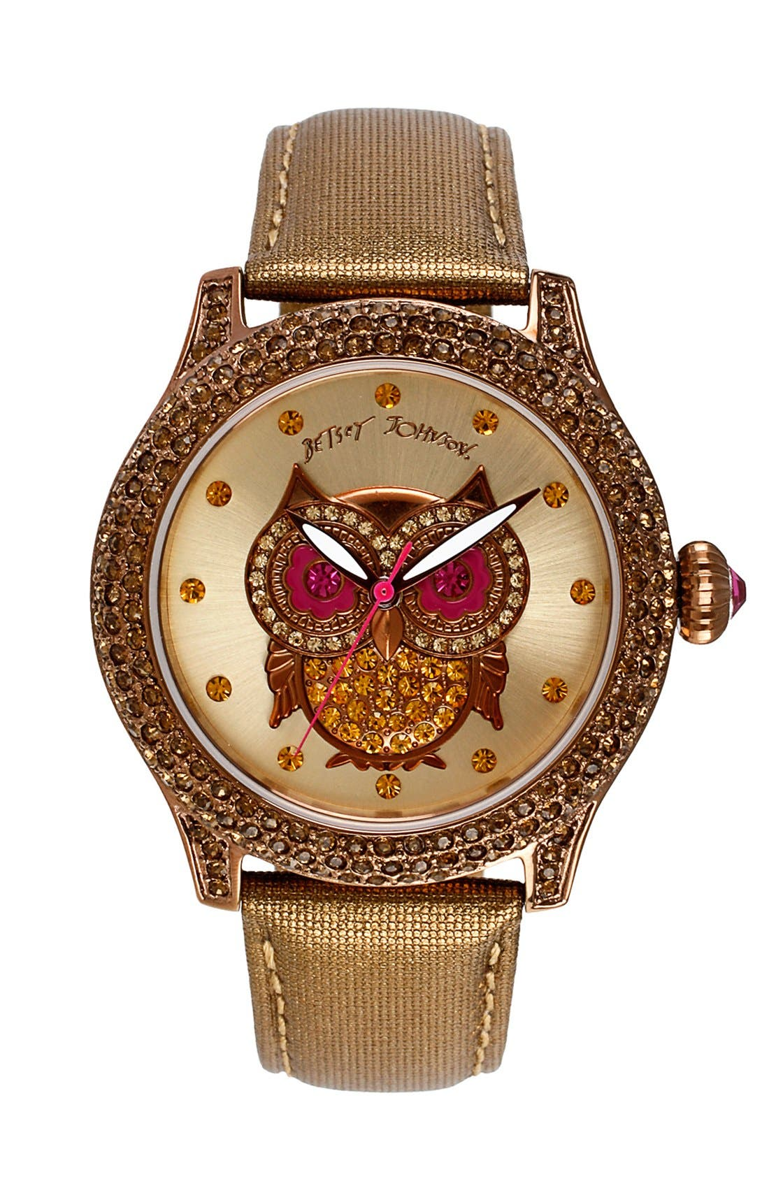 Main Image - Betsey Johnson 'Bling Bling Time' Owl Dial Watch, 40mm