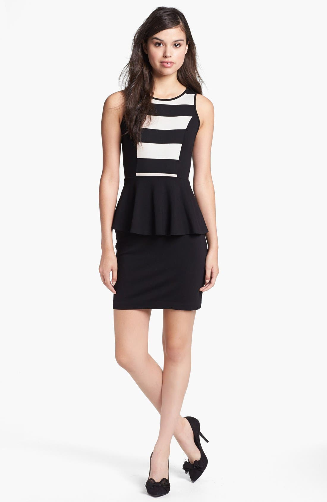 Alternate Image 1 Selected - kensie Stripe Bodice Ponte Peplum Dress