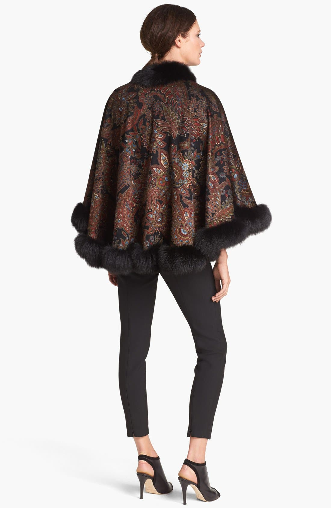 Alternate Image 2  - Sofia Cashmere Genuine Fox Fur Trim Paisley Cashmere Cape
