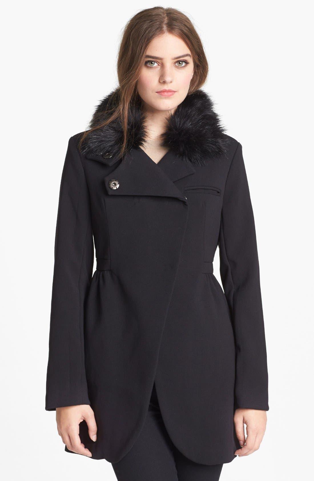 Alternate Image 1 Selected - bebe Asymmetrical Coat with Detachable Faux Fur Collar