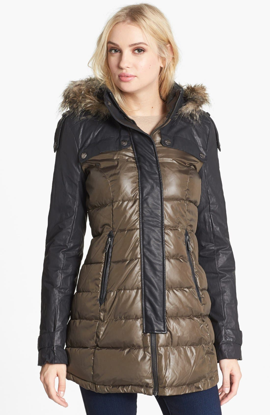 Main Image - Circus by Sam Edelman Faux Leather Sleeve Quilted Coat