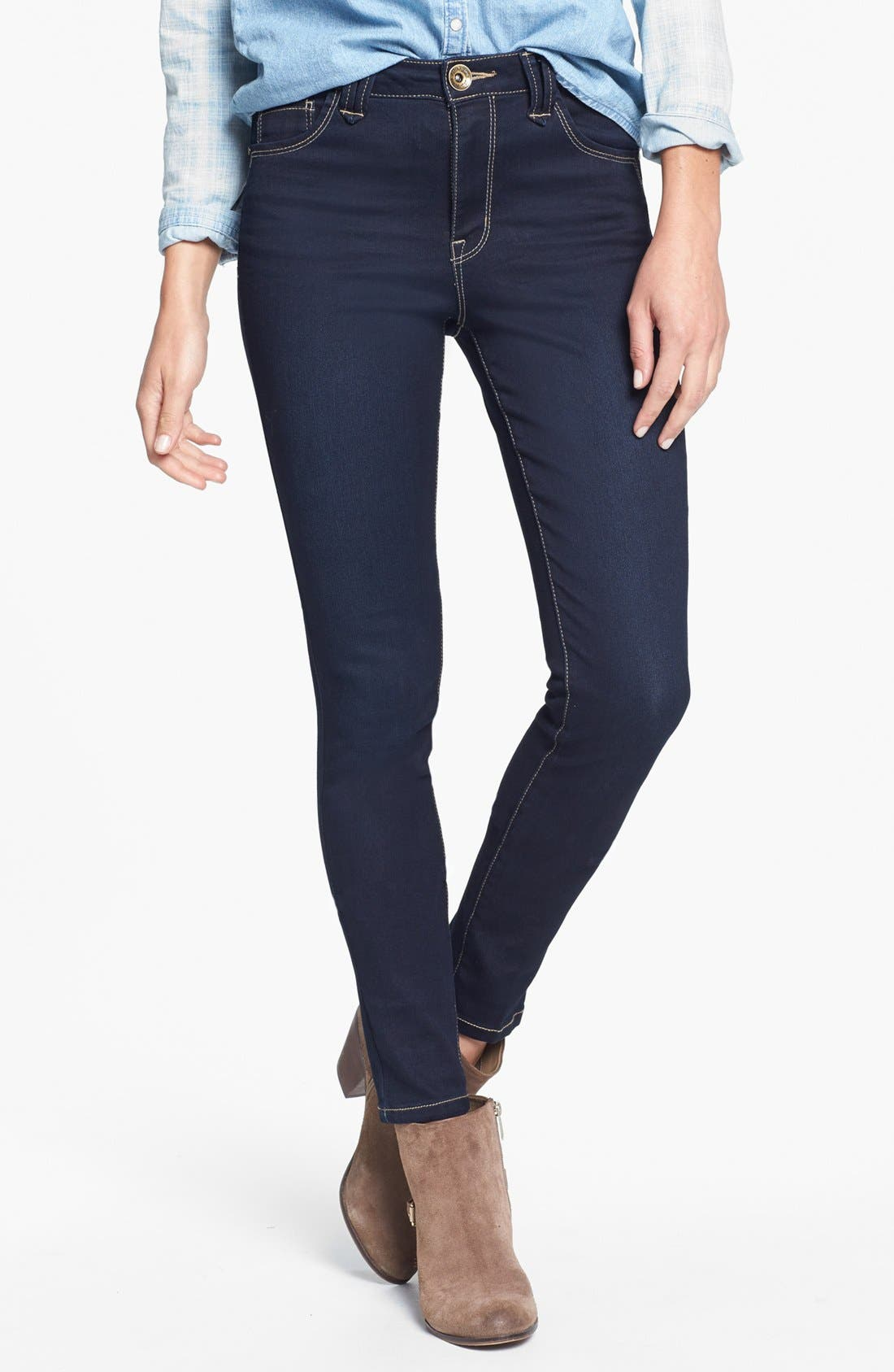 Alternate Image 1 Selected - Jolt High Waist Skinny Jeans (Dark) (Juniors)