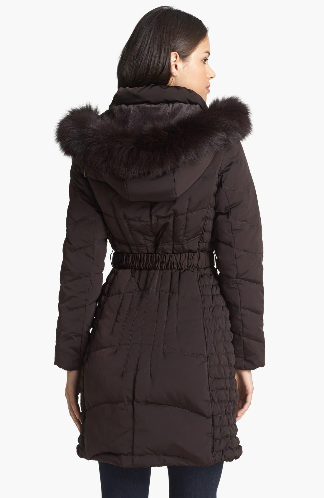 Alternate Image 2  - 1 Madison Genuine Fox & Faux Fur Trim Down Walking Coat