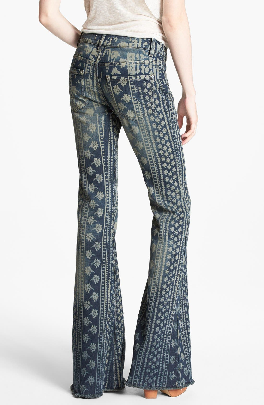 Alternate Image 2  - Free People 'Bali' Print Flare Leg Jeans (Indigo Combo)