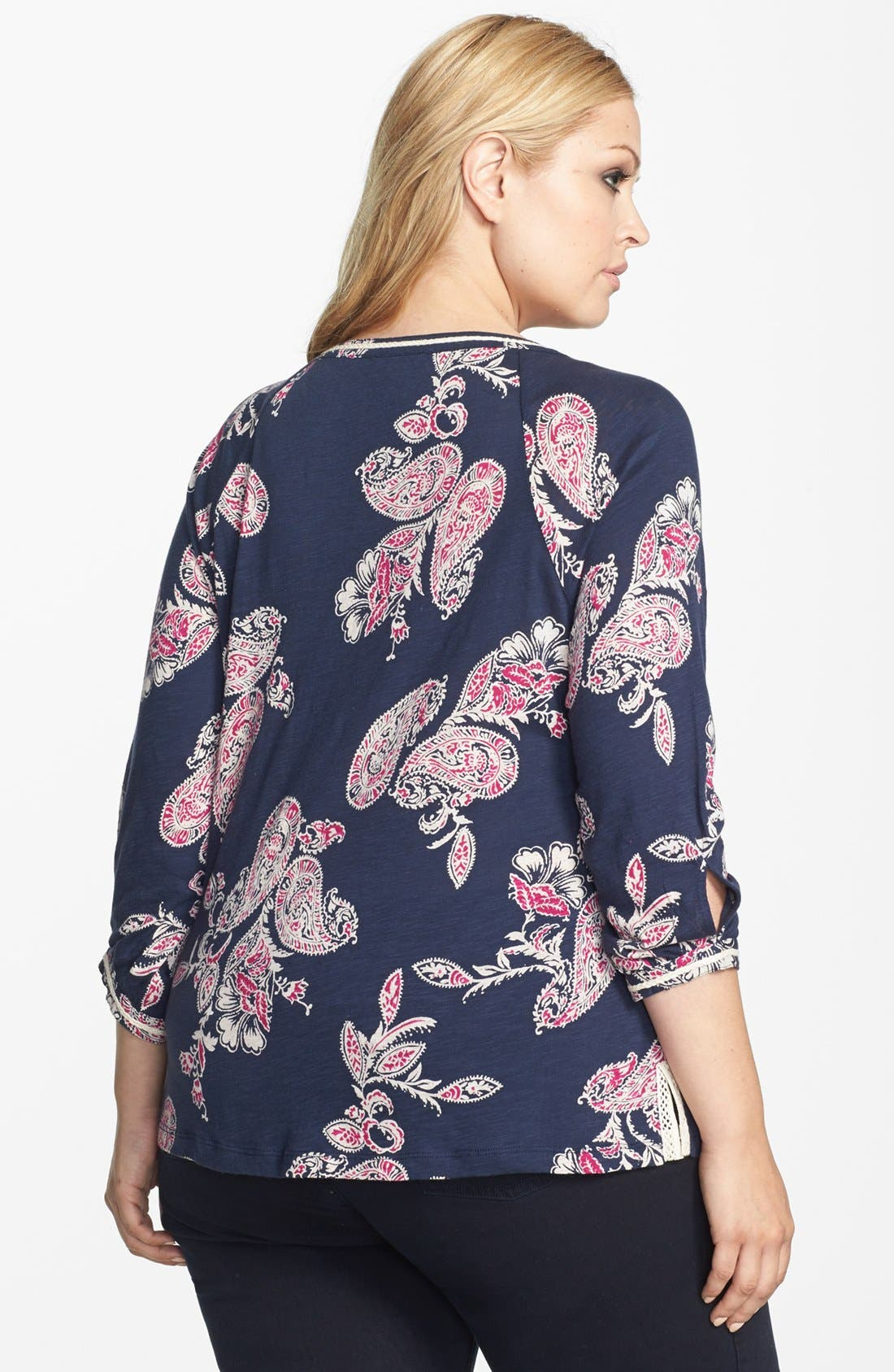 Alternate Image 2  - Lucky Brand 'Taryn' Paisley Print Top (Plus Size)