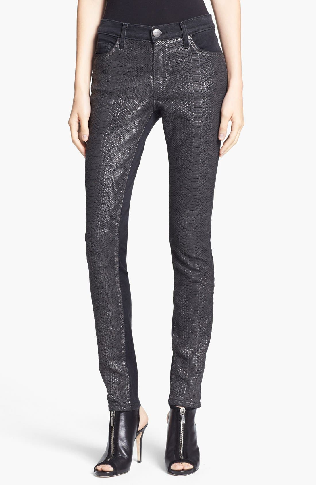 Alternate Image 1 Selected - Current/Elliott 'The Ankle Skinny' Coated Animal Print Jeans