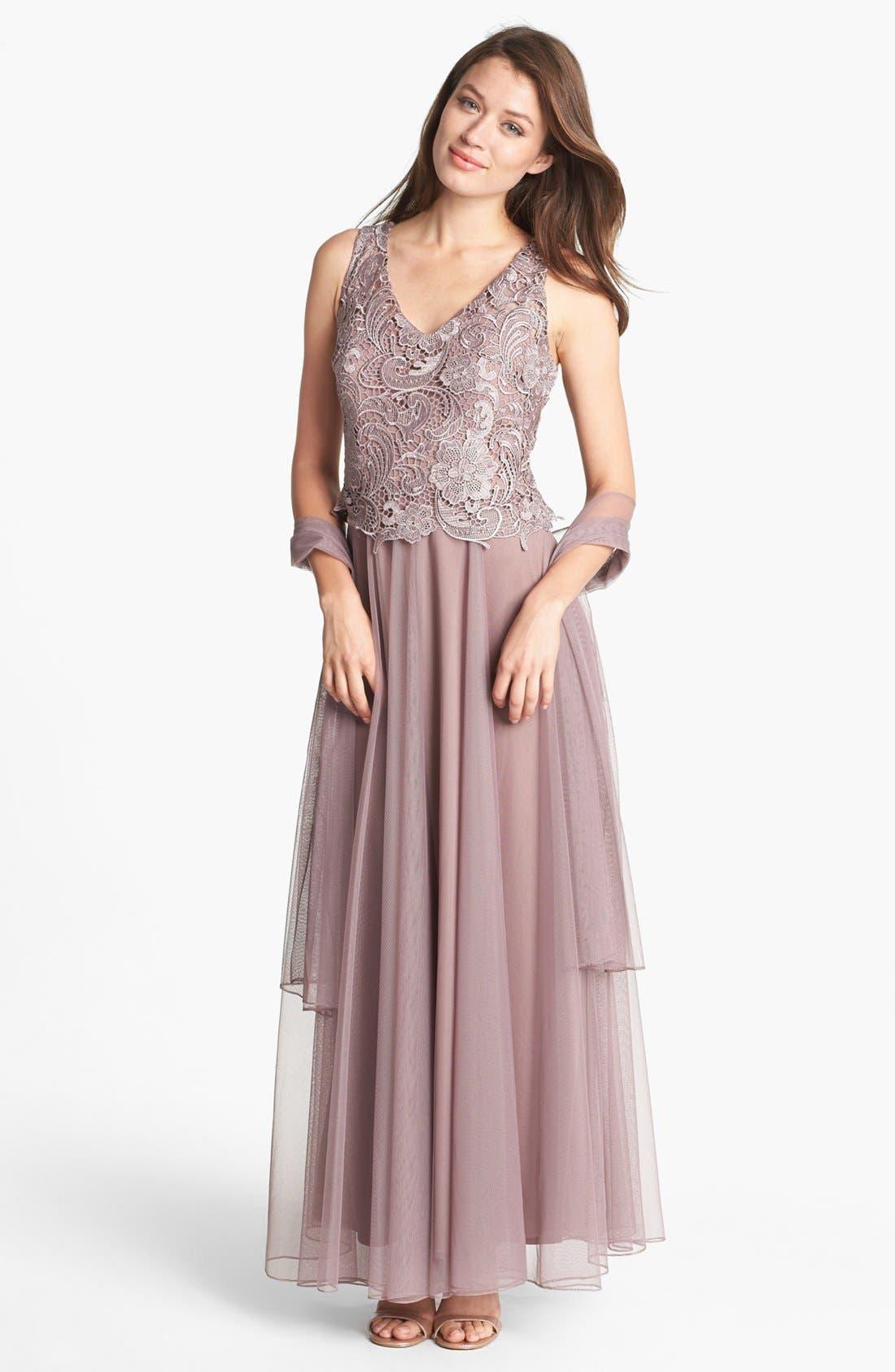 Alternate Image 1 Selected - Patra Venice Lace & Chiffon Dress (Regular & Petite)