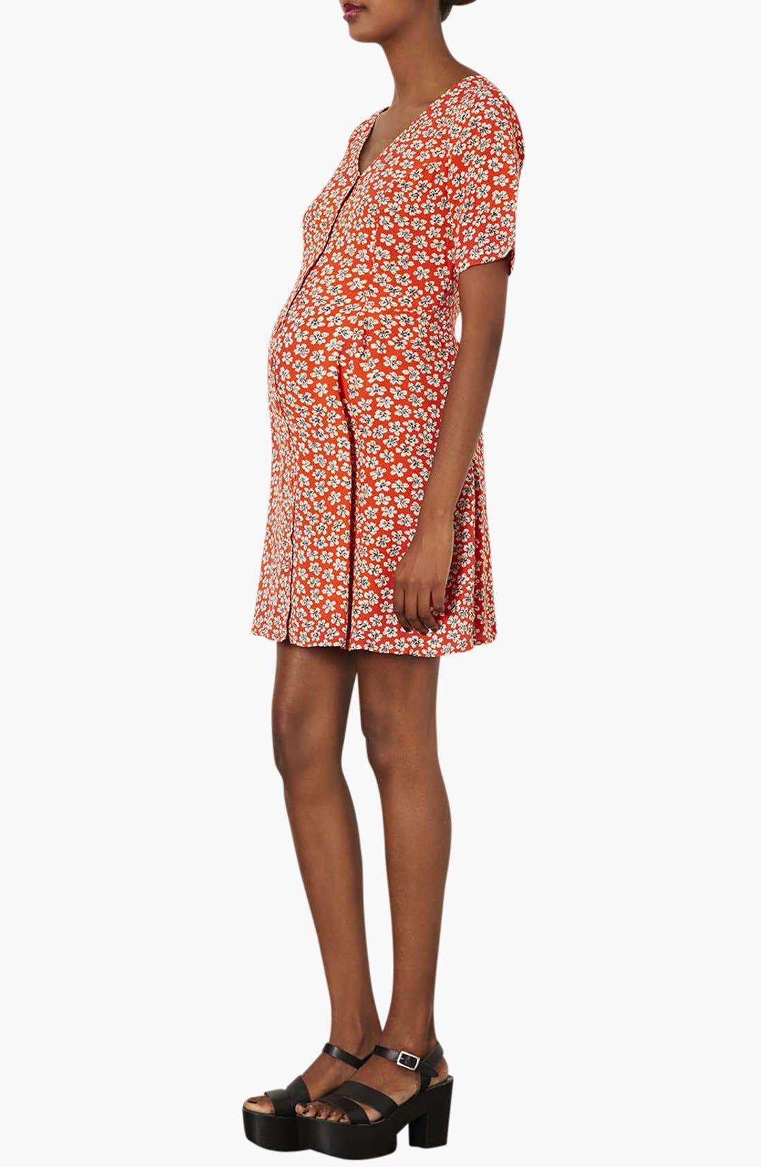 Alternate Image 2  - Topshop 'Daisy' Floral Maternity Tea Dress