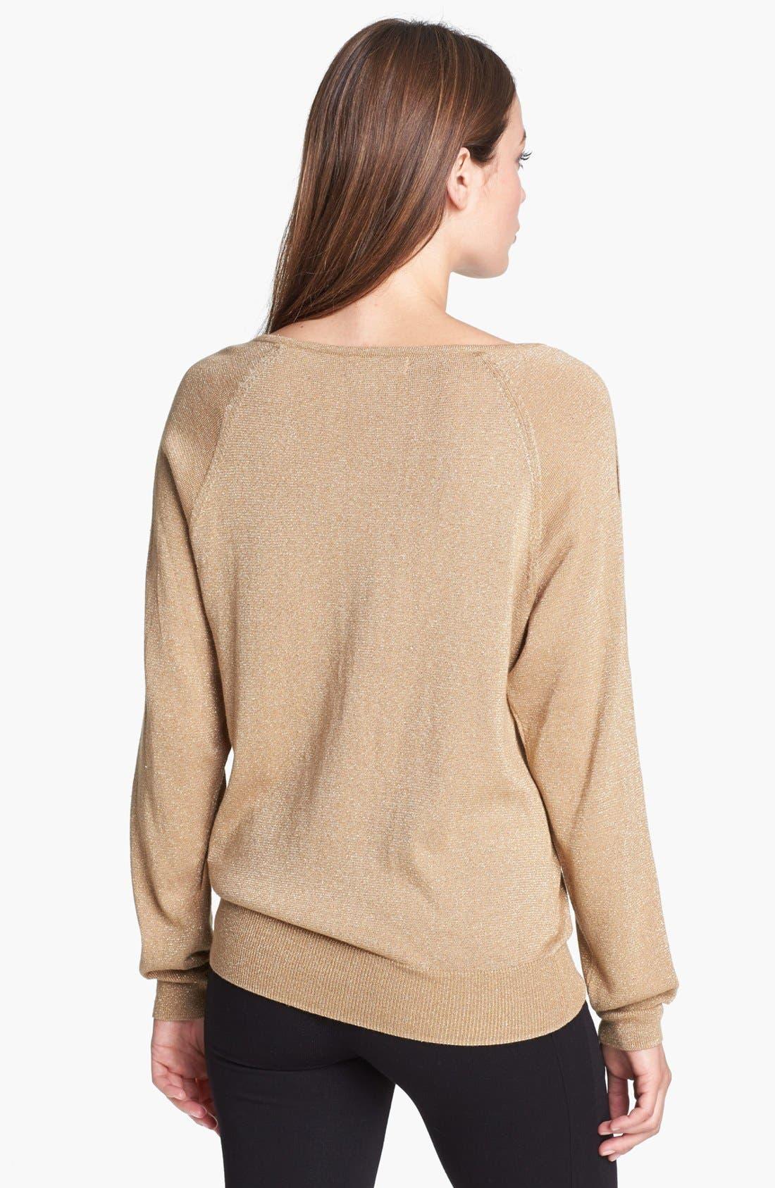 Alternate Image 2  - MICHAEL Michael Kors Studded Sleeve Metallic Sweater (Regular & Petite)