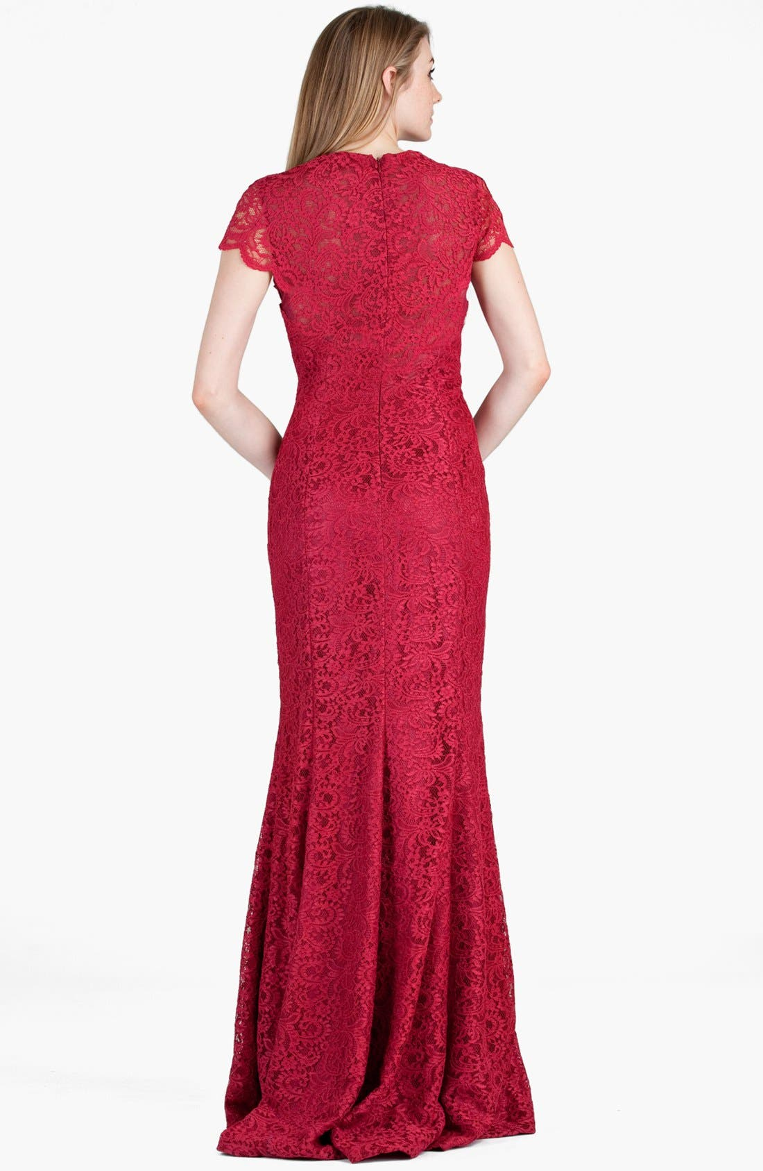 Alternate Image 2  - JS Boutique Mesh Inset Lace Trumpet Gown
