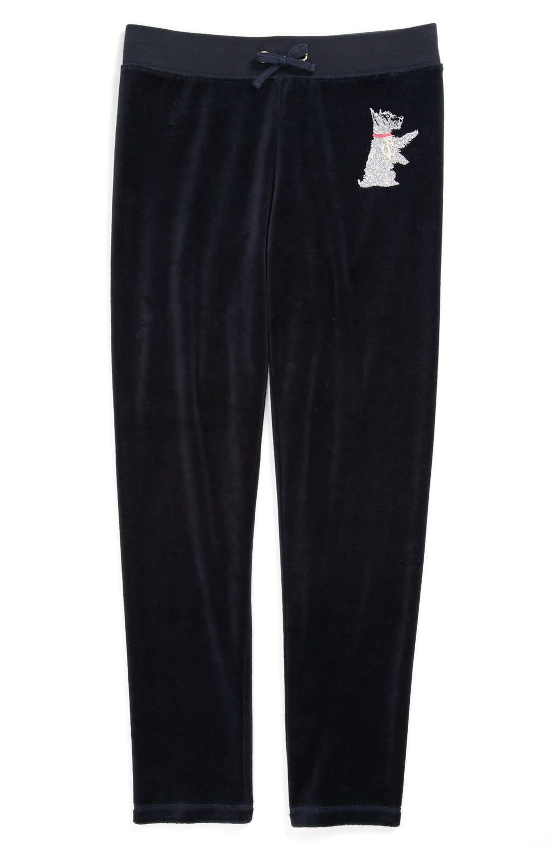 Main Image - Juicy Couture 'Glitter Scottie' Velour Pants (Little Girls & Big Girls)