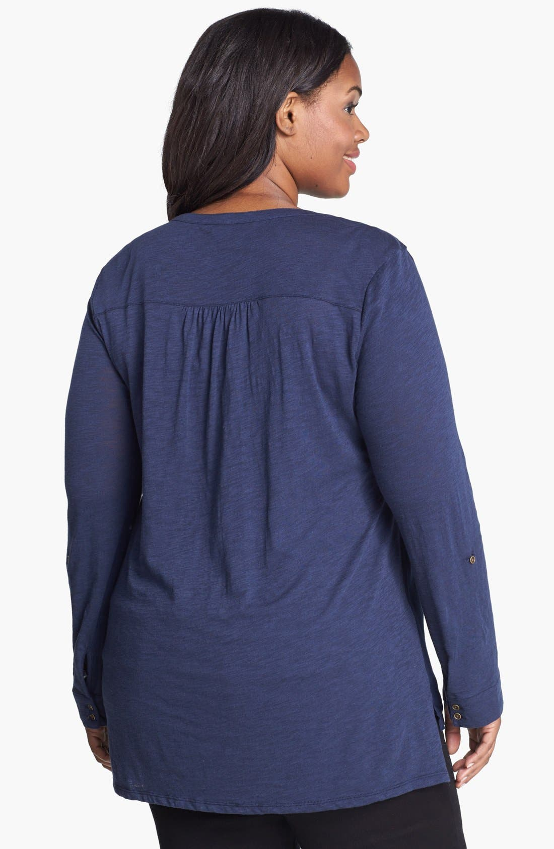 Alternate Image 2  - Lucky Brand Woven Front Jersey Top (Plus Size)