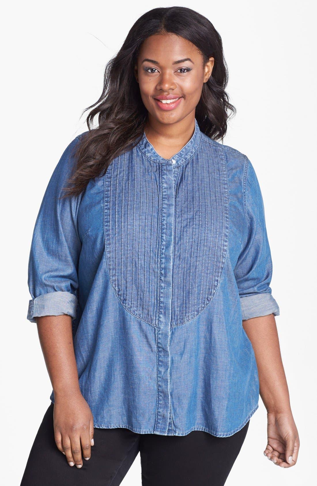 Alternate Image 1 Selected - Lucky Brand Chambray Tuxedo Shirt (Plus Size)