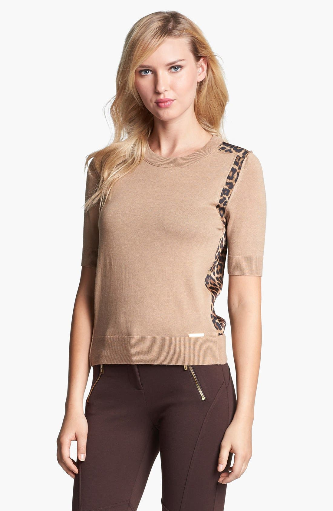 Alternate Image 2  - MICHAEL Michael Kors Woven Back Sweater (Regular & Petite)