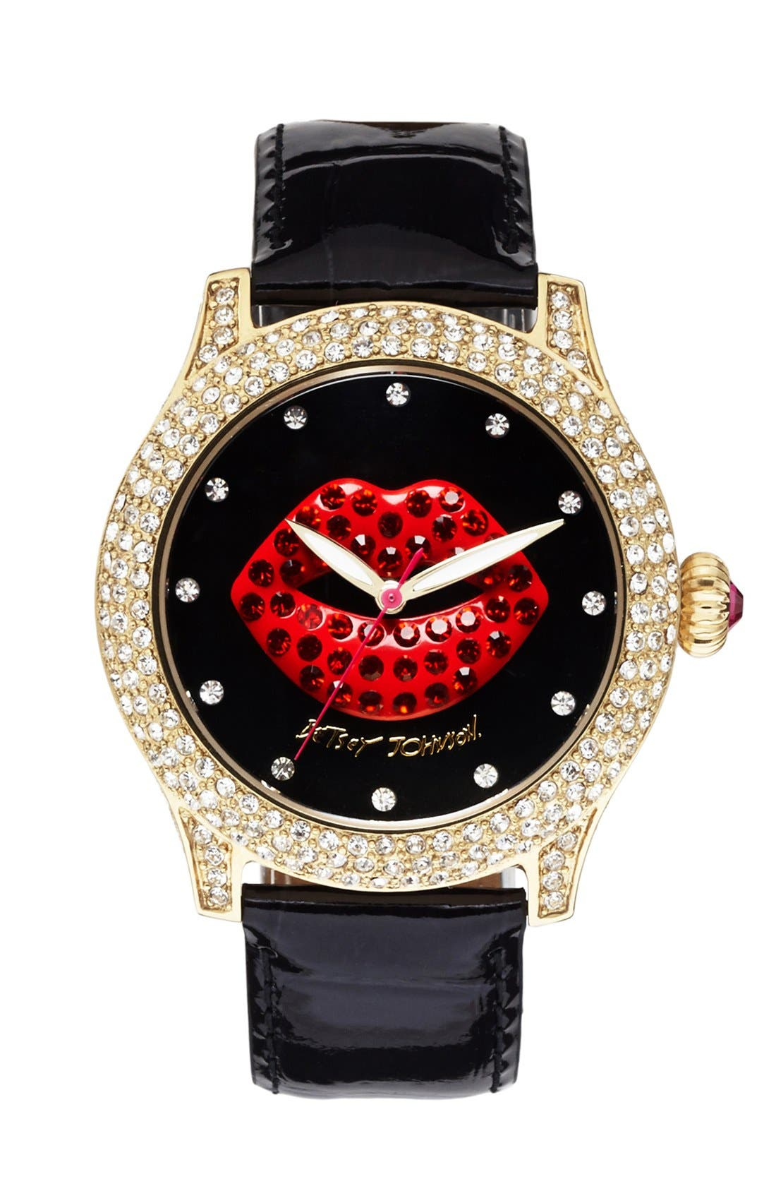 Main Image - Betsey Johnson Red Lip Dial Patent Leather Strap Watch, 41mm