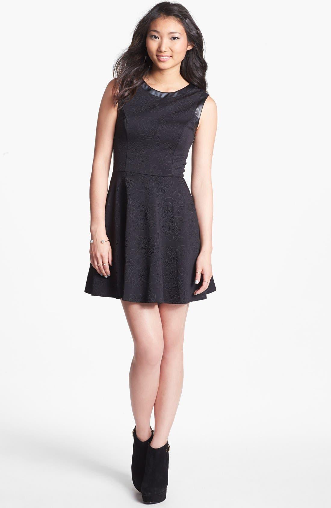 Main Image - Lush Mesh Back Skater Dress (Juniors)