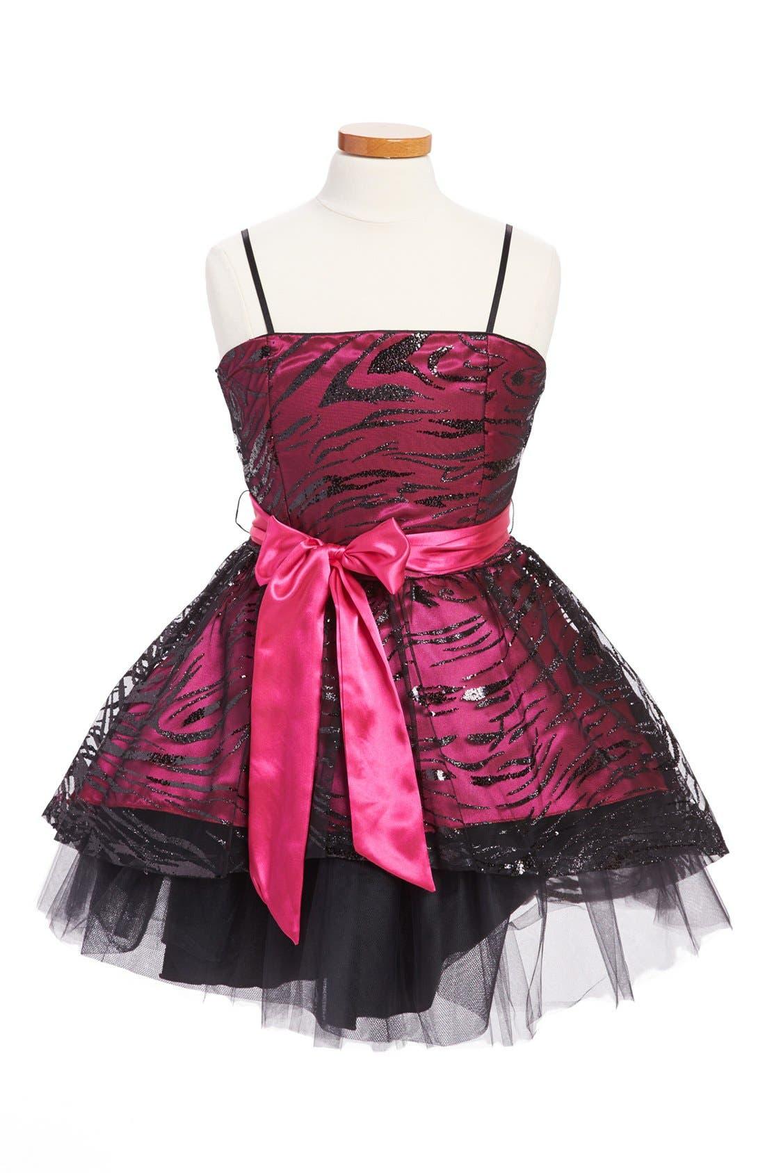 Main Image - Un Deux Trois Animal Sequin Dress (Big Girls)