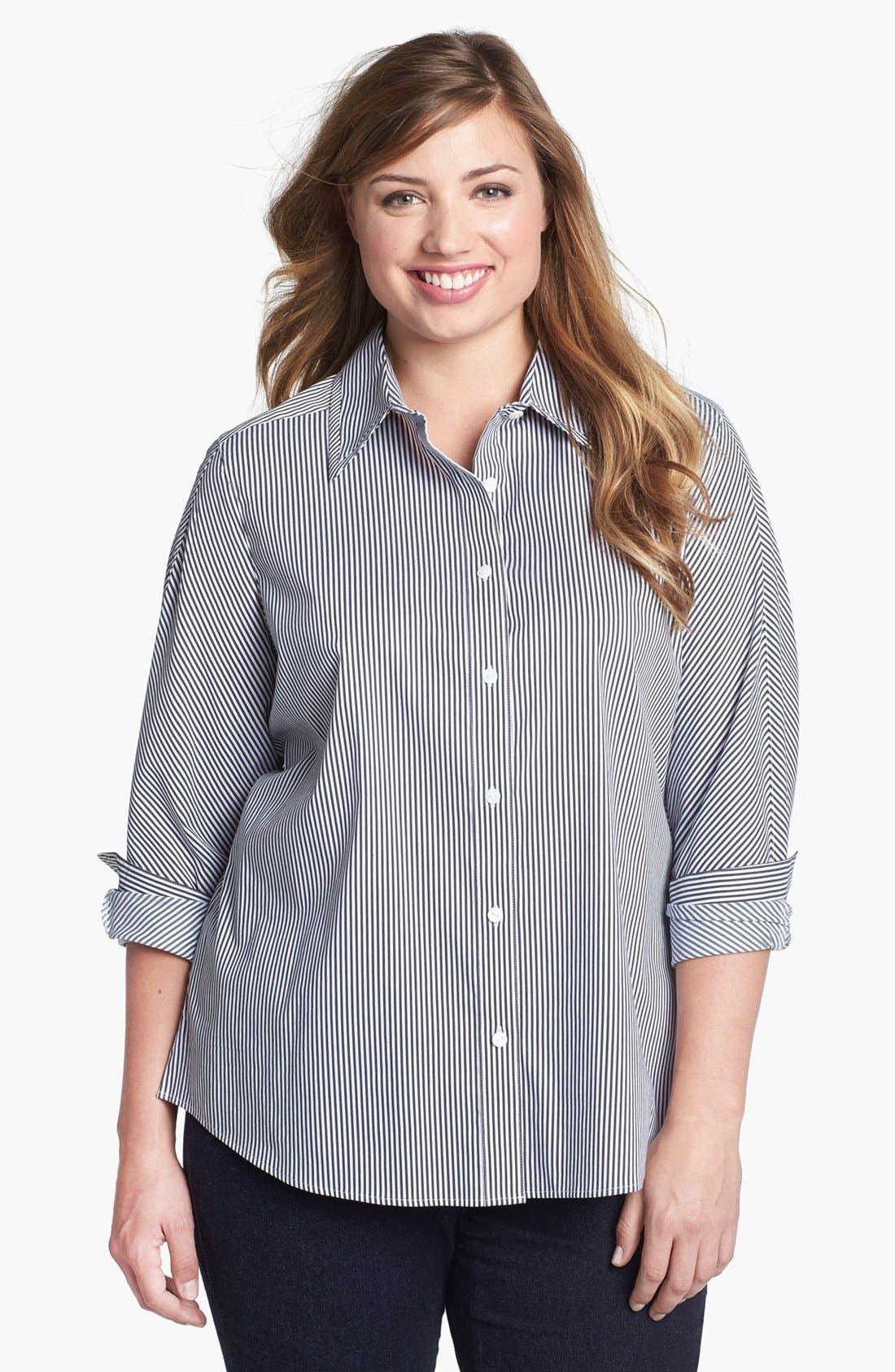 Alternate Image 1 Selected - Foxcroft Stripe Shaped Shirt (Plus Size)