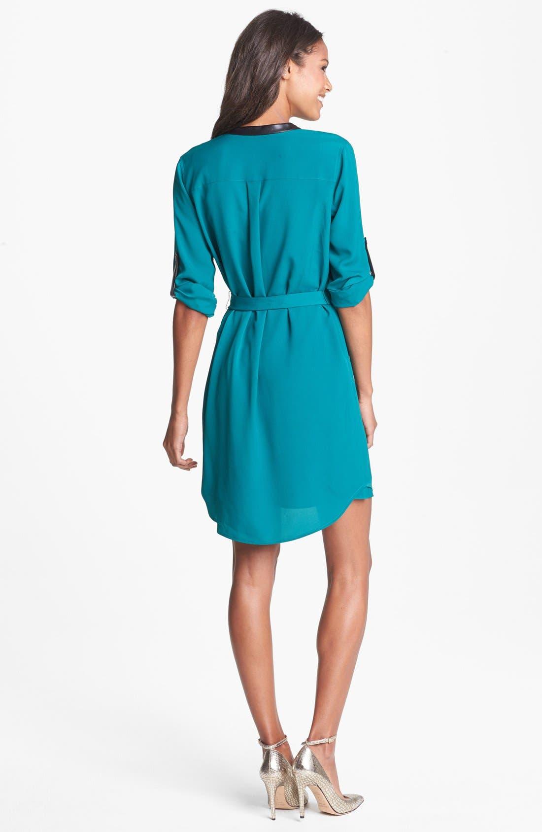 Alternate Image 2  - DKNYC Faux Leather Trim Roll Sleeve Shirtdress