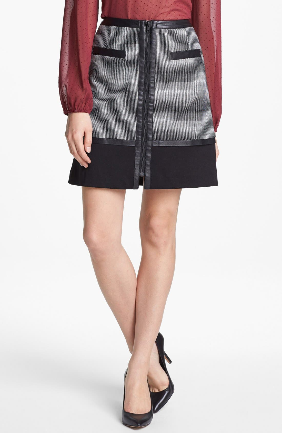 Alternate Image 1 Selected - Halogen® 'Power Grid' Zip Front A-Line Skirt