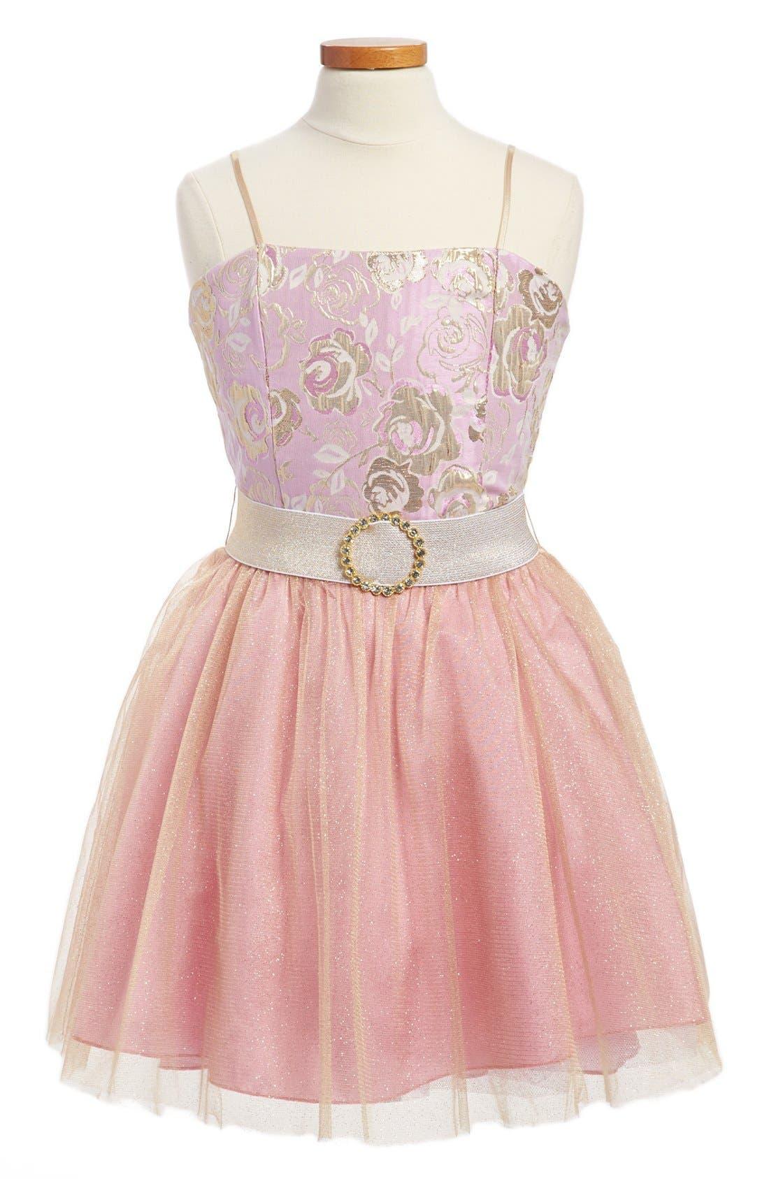 Alternate Image 1 Selected - Un Deux Trois Brocade & Tulle Dress (Big Girls)