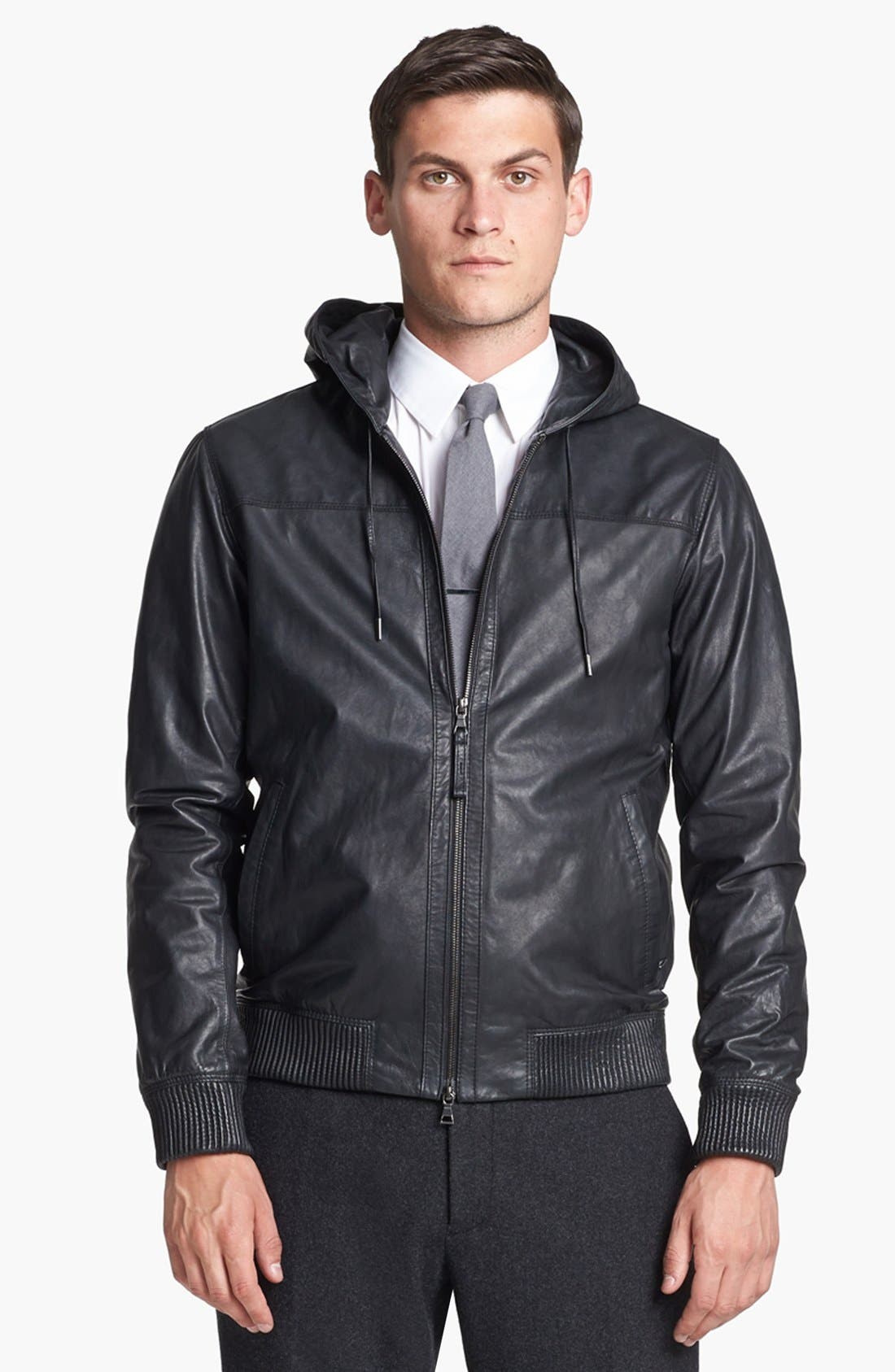 Alternate Image 1 Selected - Vince Hooded Leather Bomber Jacket