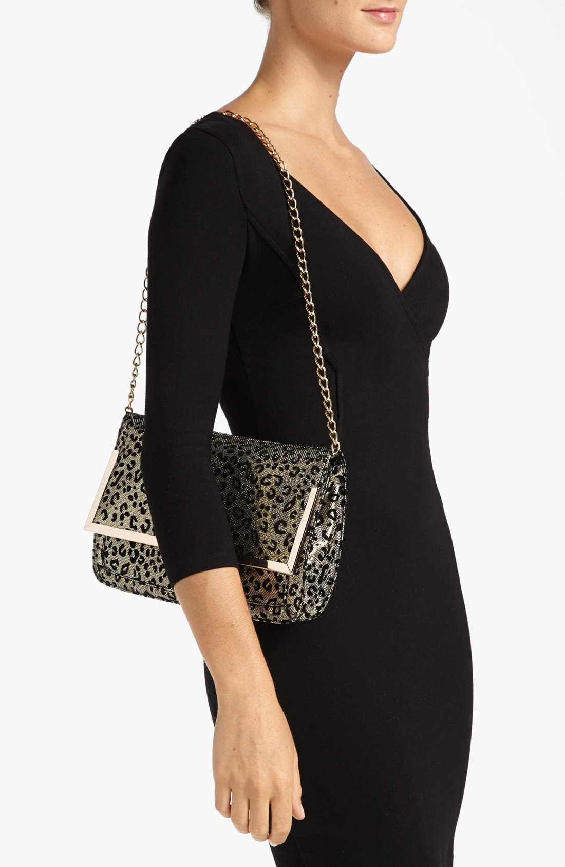 Alternate Image 2  - Cesca Leopard Print Clutch (Juniors) (Online Only)