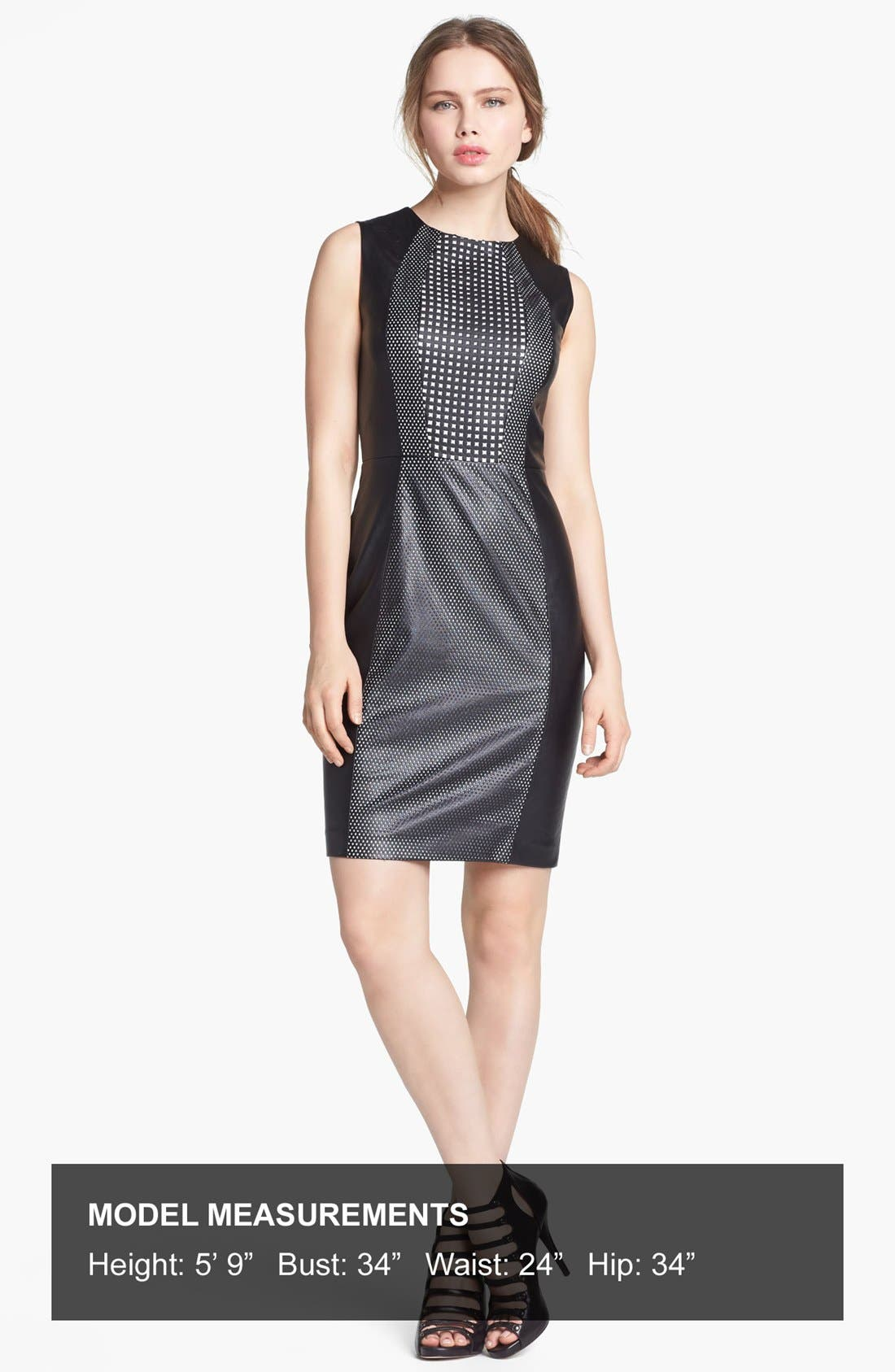 Alternate Image 4  - Vince Camuto Perforated Faux Leather Sheath Dress
