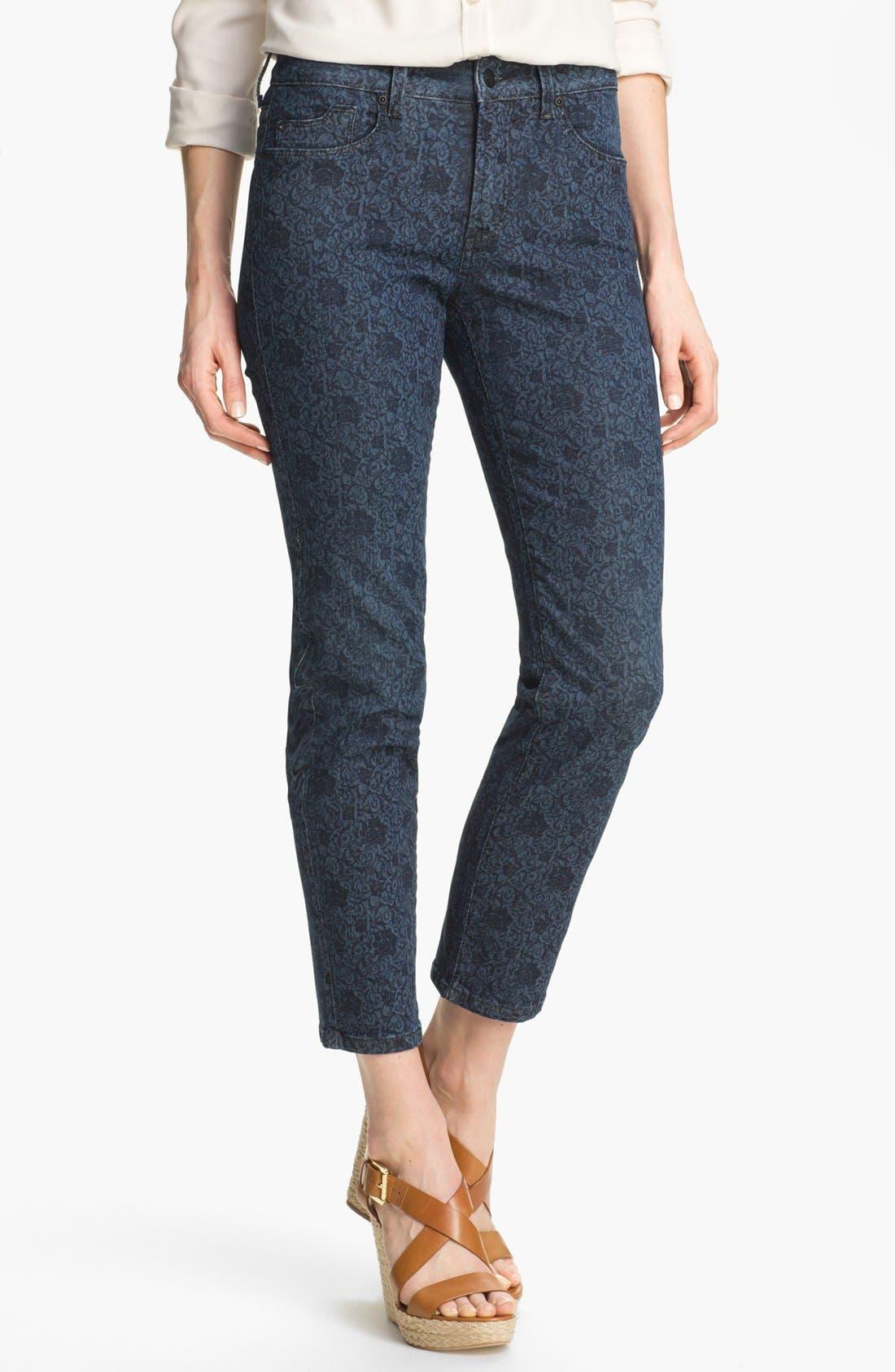 Alternate Image 1 Selected - NYDJ 'Alisha' Print Stretch Ankle Skinny Jeans (Petite)