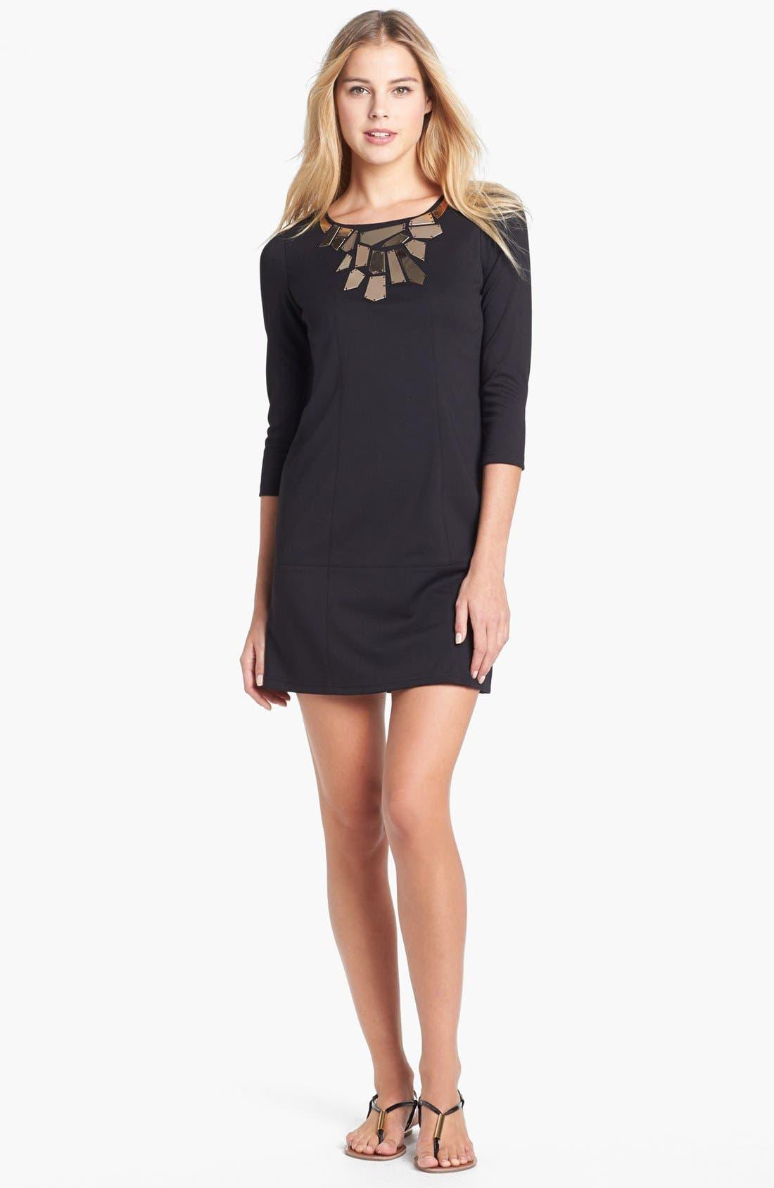 Main Image - Vince Camuto Embellished Neck Ponte Knit Dress