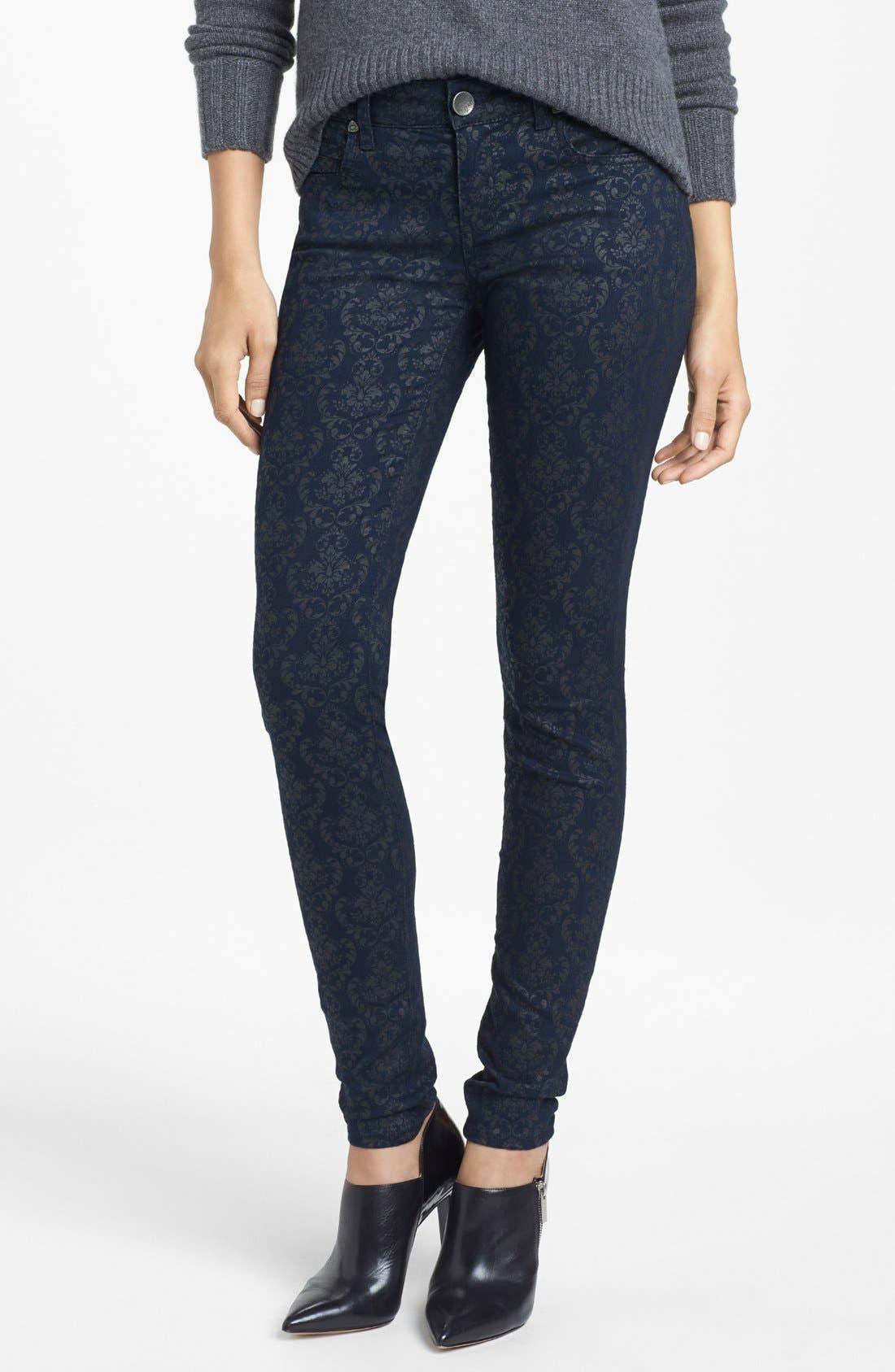 Main Image - KUT from the Kloth 'Mia' Print Skinny Jeans (Indigo)
