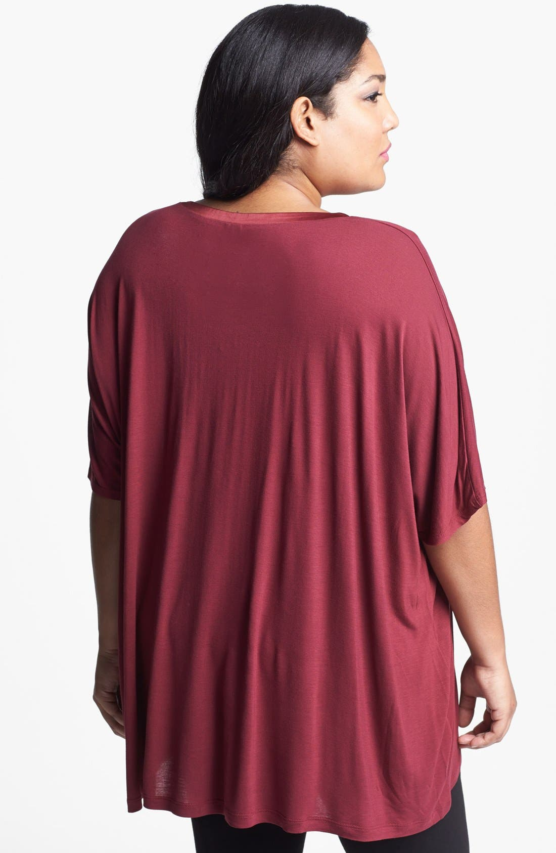 Alternate Image 2  - Kische Satin Trim Sharkbite Hem Top (Plus Size)