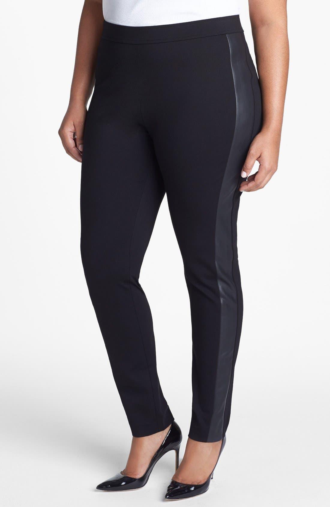 Main Image - Sejour Faux Leather & Ponte Knit Pants (Plus Size)
