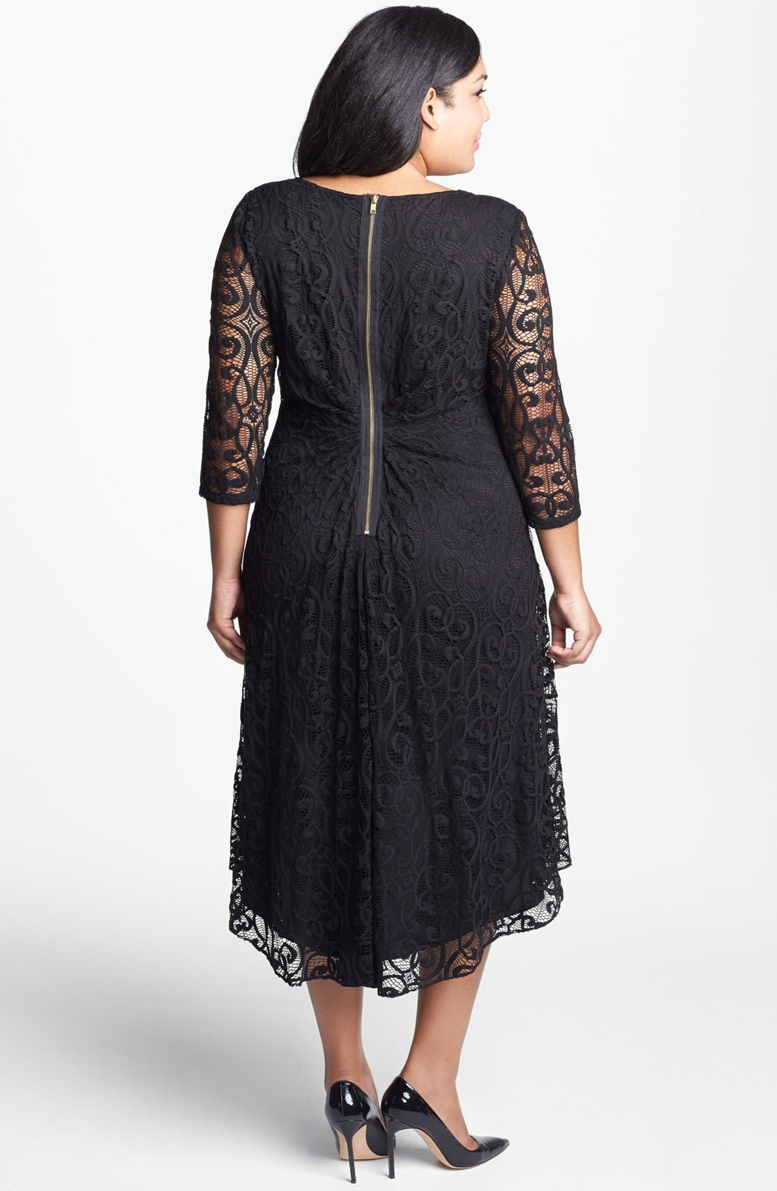 Alternate Image 2  - Adrianna Papell Lace High/Low Dress (Plus Size)