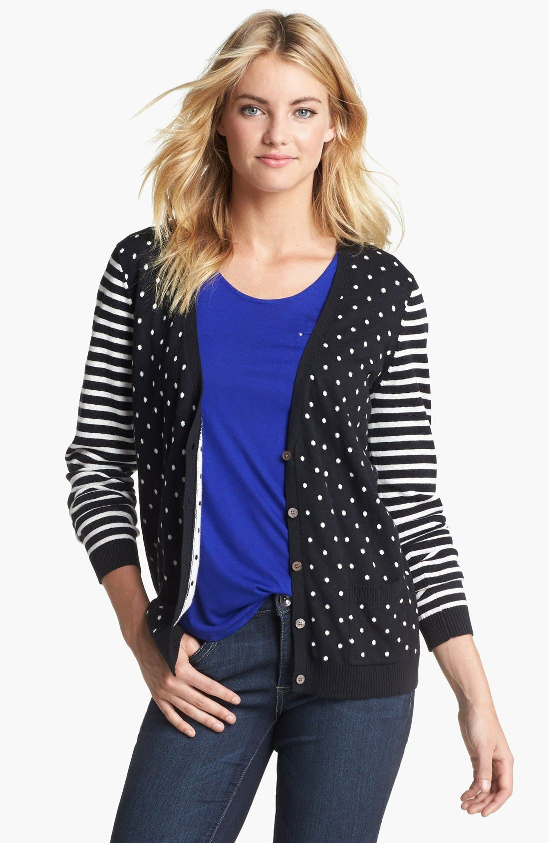 Alternate Image 4  - Two by Vince Camuto Dot & Stripe Cardigan