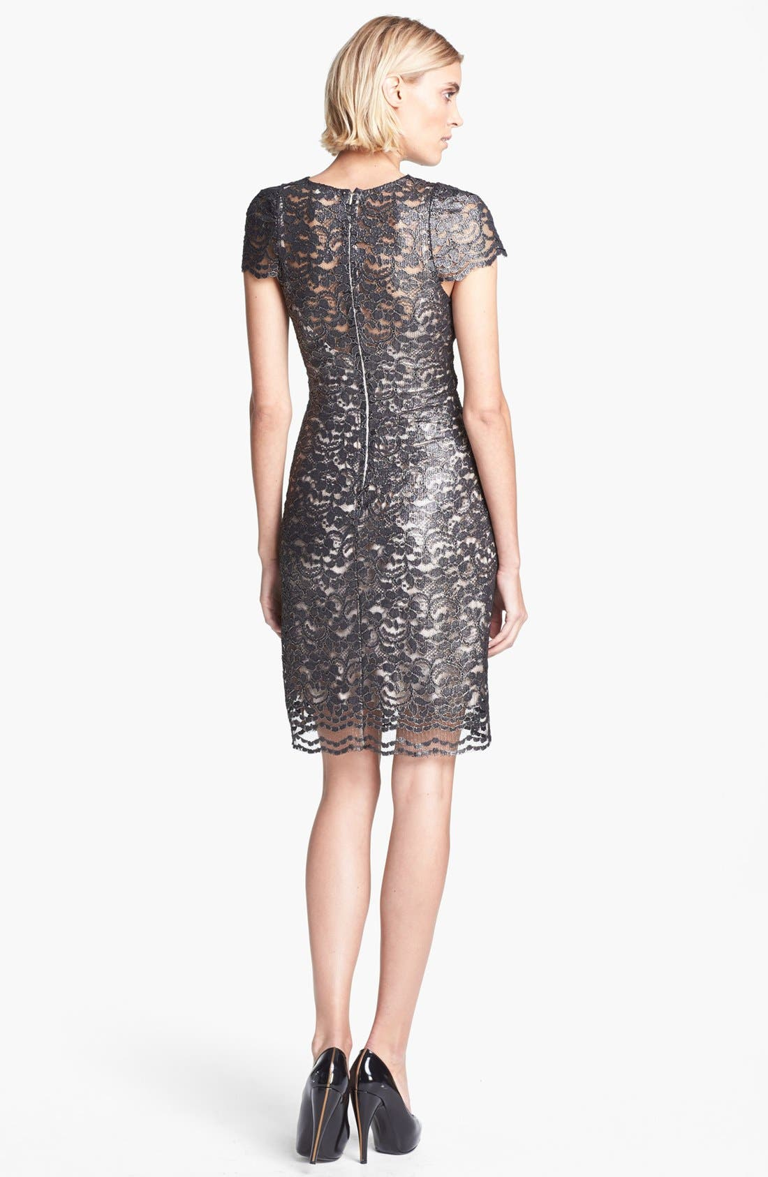 Alternate Image 2  - L'AGENCE Short Sleeve Lace Dress