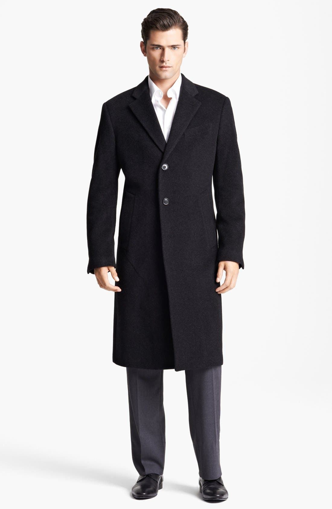Main Image - Armani Collezioni 'Executive' Wool Top Coat (Online Only)