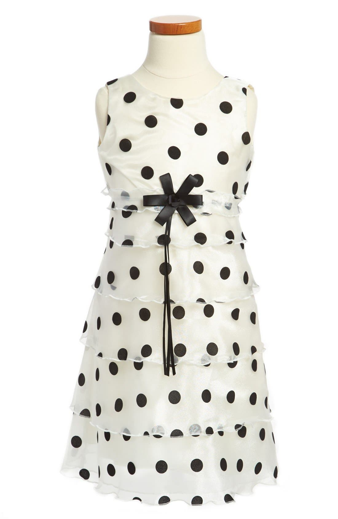 Alternate Image 1 Selected - Dorissa 'Dotty' Shimmer Tier Party Dress (Little Girls)