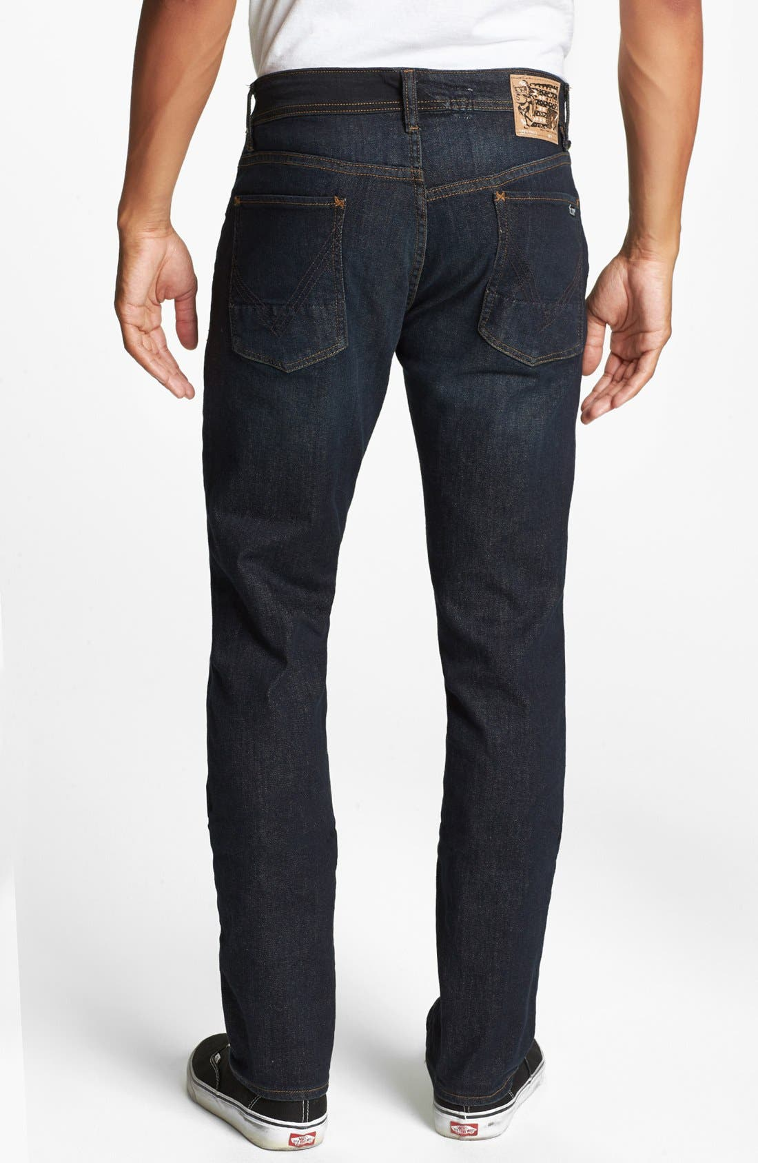 Alternate Image 1 Selected - Volcom 'Vorta' Slim Straight Leg Jeans (Dark Blue Rinse)