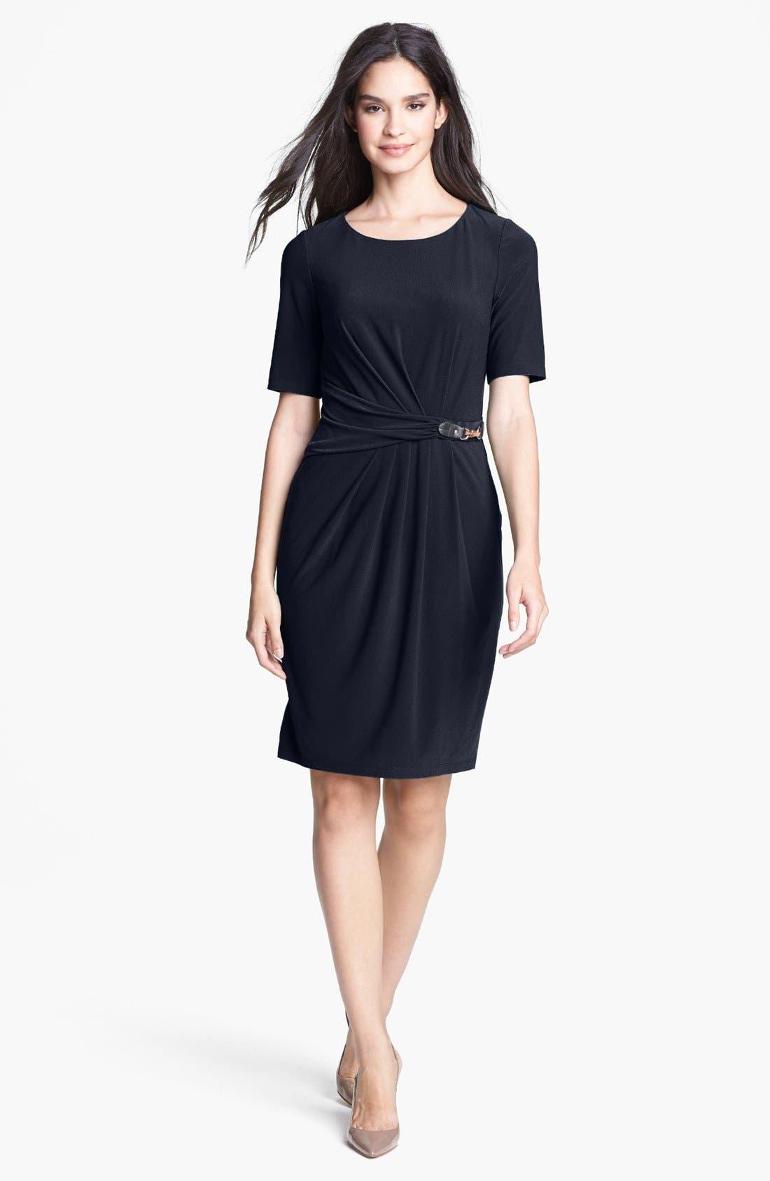 Alternate Image 1 Selected - Ellen Tracy Side Tab Crepe Sheath Dress