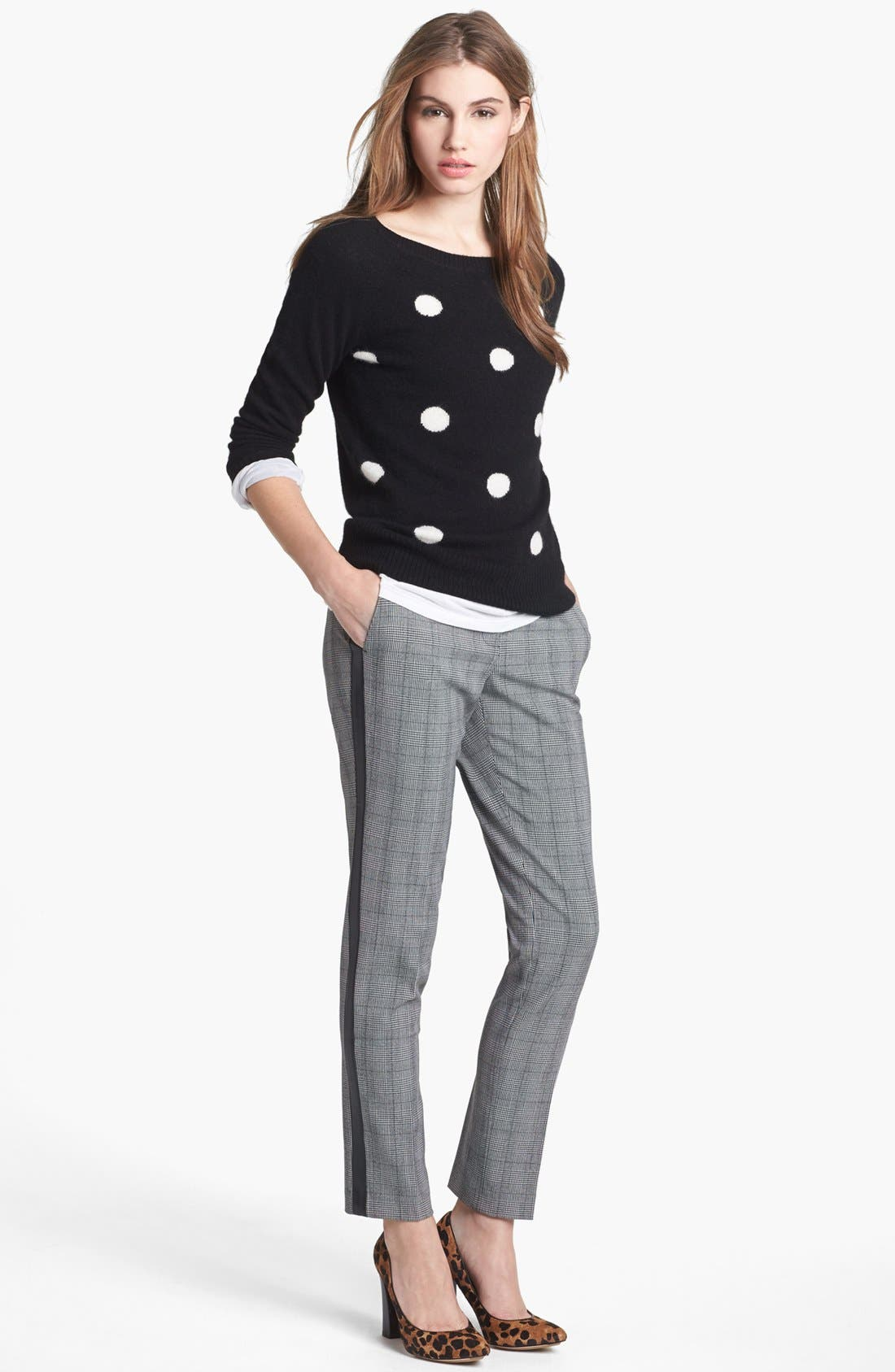 Alternate Image 4  - Vince Camuto Faux Leather Stripe Glen Plaid Trousers (Online Exclusive)