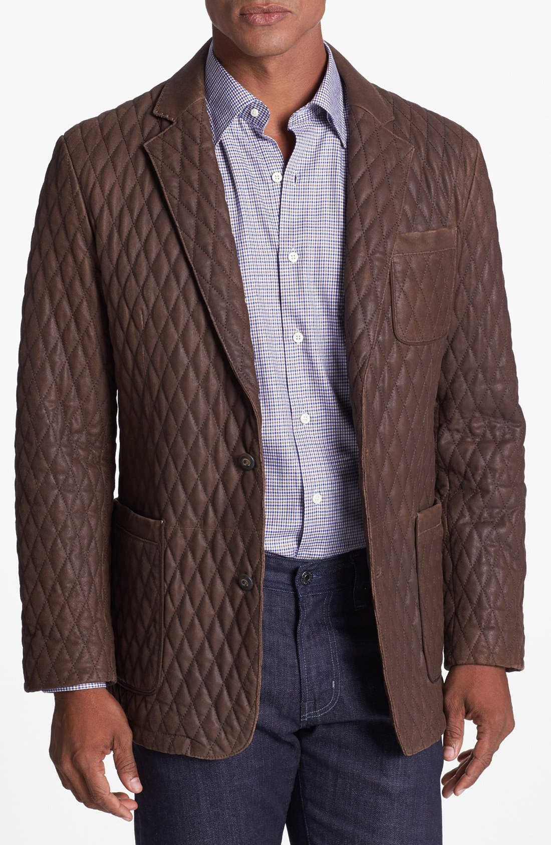 Alternate Image 1 Selected - Robert Graham 'Miles' Quilted Suede Sportcoat