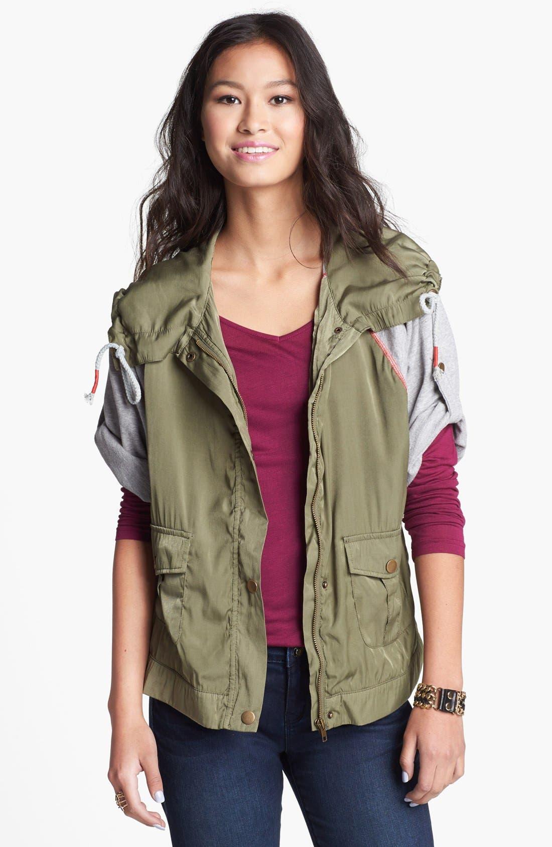 Main Image - Angel Kiss Knit Sleeve Hooded Military Jacket (Juniors)