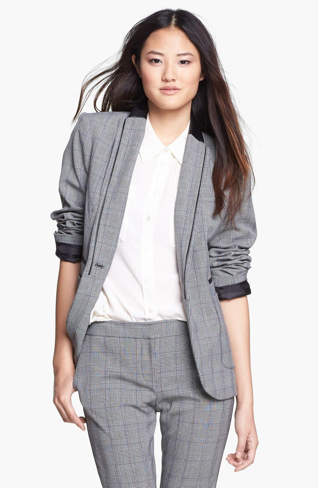 Main Image - Vince Camuto Faux Leather Collar Plaid Blazer