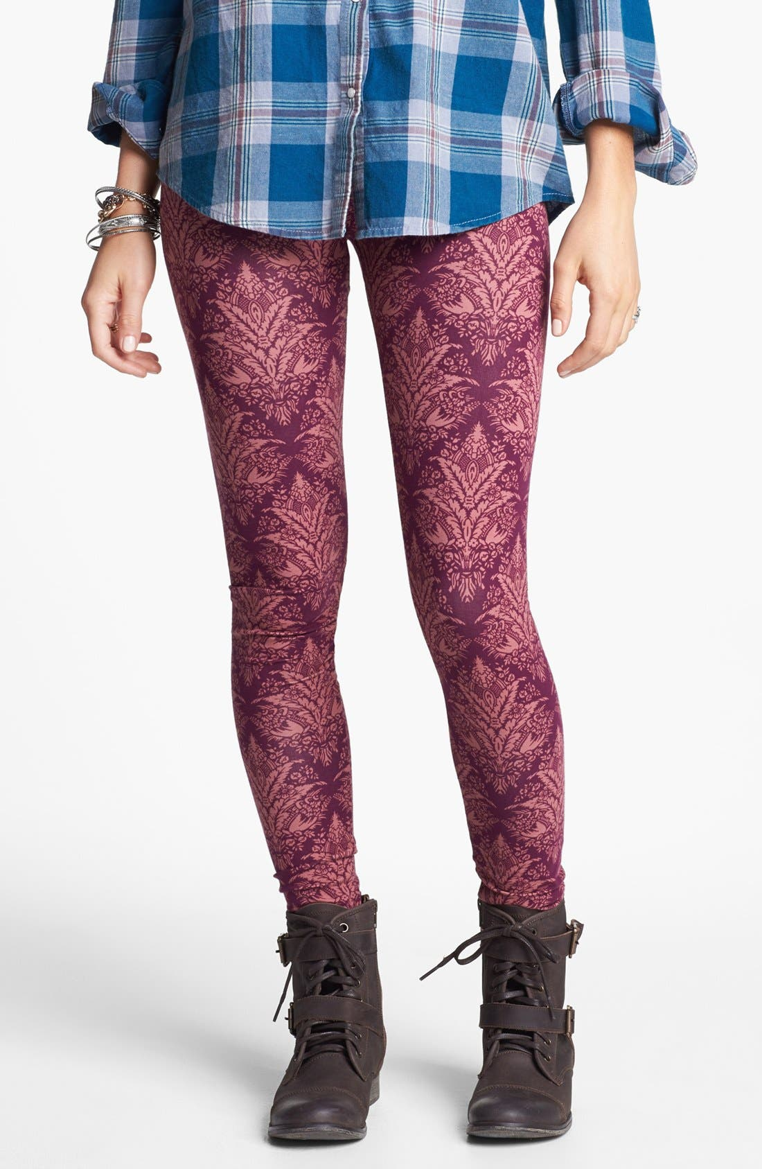 Alternate Image 1 Selected - Threads for Thought Damask Print High Waist Leggings (Juniors)