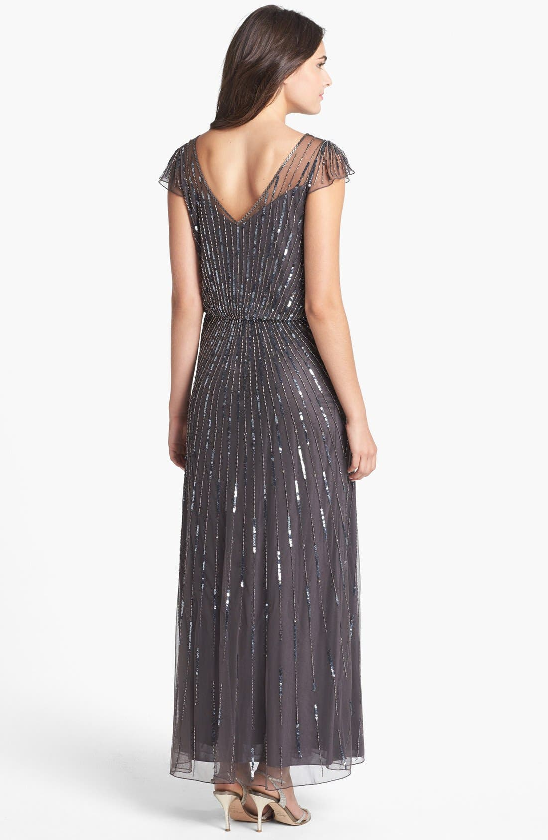 Alternate Image 2  - J Kara Beaded Mesh Blouson Gown