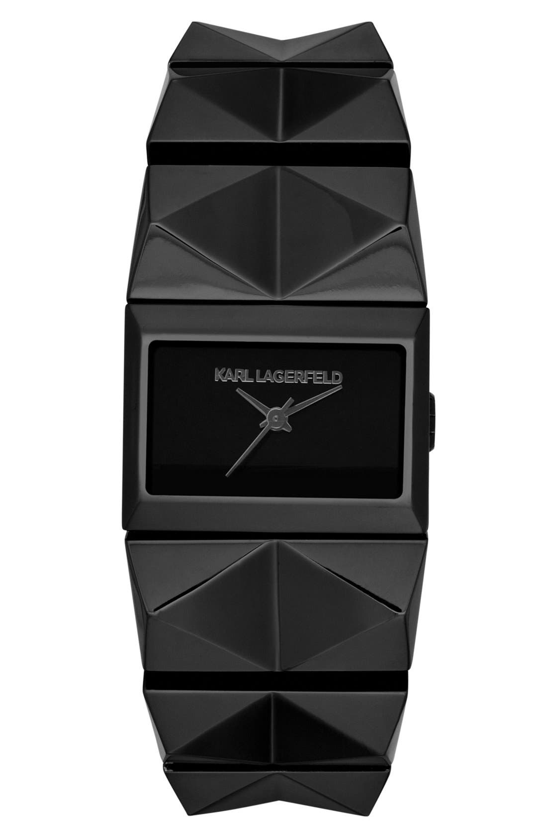 Alternate Image 1 Selected - KARL LAGERFELD 'Perspektive' Pyramid Bracelet Watch, 27mm x 20mm